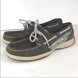 Sperry's | Gray Sequin Topsider Boat Shoe Leather